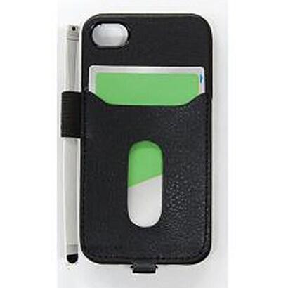 PIP-CHC2PB [iPhone 4S/4用カード ホルダー付き/タッチペン用ペンホルダー付きケース ブラック]