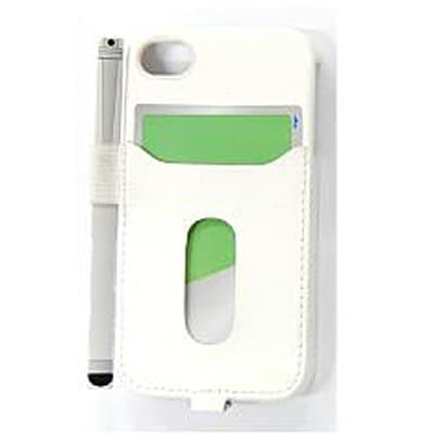 PIP-CHC2PW [iPhone 4S/4用カード ホルダー付き/タッチペン用ペンホルダー付きケース ホワイト]