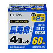 EKP100V54LWC4P [白熱電球 ミニクリプトン球 長寿命タイプ E17口金 100V 60W形(54W) 35mm径 クリア 4個入]