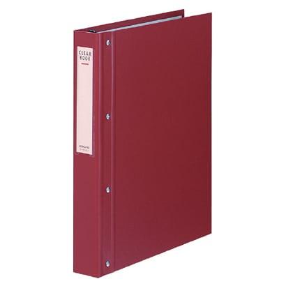 ラ-E100R [クリヤーブック替紙式・大量とじA4縦30穴40枚ポケット赤]