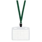 ナフ-T180G [ネックストラップ名札「アイドプラス」名刺IDカード用チャック付緑]