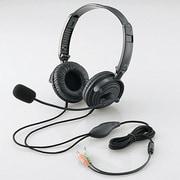HS-HP20BK [ヘッドセットマイクロフォン 両耳オーバーヘッド 1.8m 折り畳み式 40mmドライバ ブラック]