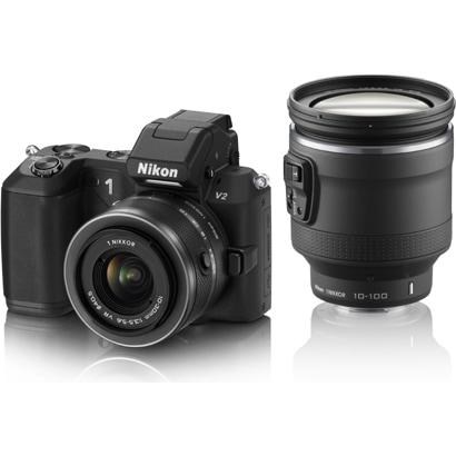 Nikon1 V2 ハイパーダブルズームキット ブラック [ボディ+交換レンズ「1 NIKKOR VR 10-30mm f/3.5-5.6」「1 NIKKOR VR 10-100mm f/4.5-5.6 PD-ZOOM」]