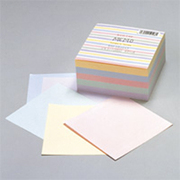 メモ501N [ブロックメモ 100×100mm 500枚 ストライプ イエロー、ブルー、ピンク、グリーン、バイオレット]