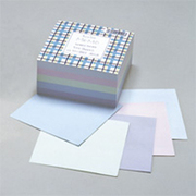 メモ502N [ブロックメモ 100×100mm 500枚 チェック ブルー、バイオレット、グリーン、スカイ、アクア]
