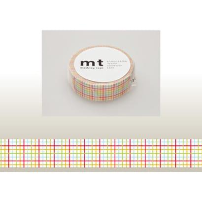 MT01D123 [15mm×10m mt1P 格子・赤]