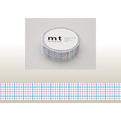 MT01D124 [15mm×10m mt1P 格子・青]