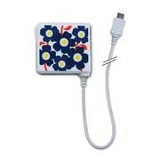 AC充電器MicroUSB/コード有リ キュートキュー 花柄BL