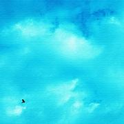 pho-0050 [壁掛けインテリアにファブリックパネル 青空]
