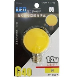 LDG1Y-H-E17 13 [LED電球 E17口金 黄色]