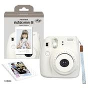 チェキカメラ INS MINI8 WHITE N [チェキ instax mini8 ホワイト 純正ハンドストラップ付き]