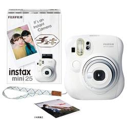 チェキカメラ INS MINI25 WT N [チェキ mini25 ホワイト 純正ハンドストラップ付き]