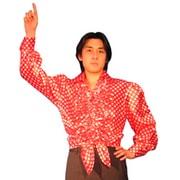 ダンスシャツ 赤水玉