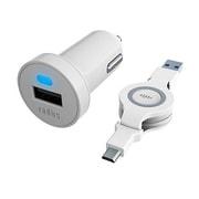 RK-CCF62W [2.4A出力 Micro USB 巻き取り式ケーブル付属カーチャージャー]