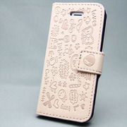 MINIOPAL SELLCTION 22417 [iPhone5/5s用 左右開閉式 メルヘン手帳型ケース プラスチック 薄ピンク]