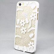 MINIOPAL SELLCTION 22936 [iPhone5/5s用 彫刻調 花模様ケース プラスチック ホワイト]