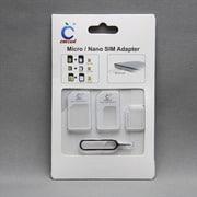 MINIOPAL SELLCTION 25470 [3サイズ入りSIM変換アダプターセット[nano/micro/U-SIM変換アダプタ+ピン] プラスチック ホワイト]