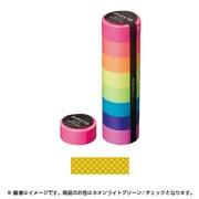 MST-MKT08-LGN [マスキングテープ ベーシック(VISIBLE NEON)/マステ/パターン (ネオンライトグリーン/チェック)]
