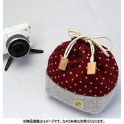 CKBM-PDWN [カメラ巾着袋M ポルカドット/ワイン カメラ用インナーケース]