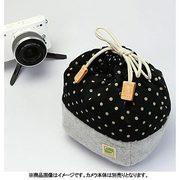 CKBM-PDBK [カメラ巾着袋M ポルカドット/ブラック カメラ用インナーケース]