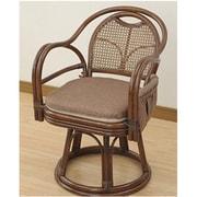 TF27-779(BR) [籐(ラタン)製 らくらく立ち上がり肘付き回転高座椅子(座面高さ42cm) ブラウン]