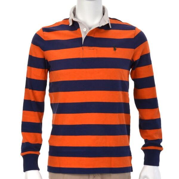 ポロシャツ 長袖 L B99 ORGSTRIPE [Lサイズ オレンジストライプ]