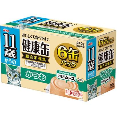 11歳からの健康缶6P しっとりムース かつお [猫用 11歳~ 40g×6缶]
