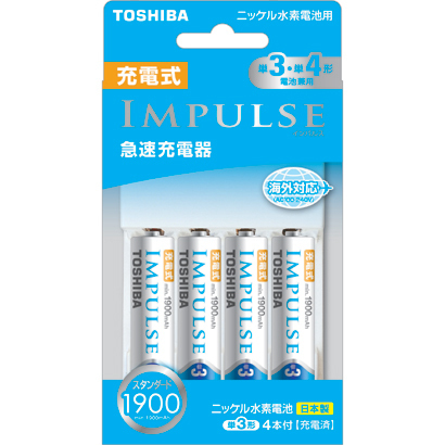 TNHC-34ME SM [IMPULSE(インパルス)急速充電器セット 単3・単4形電池兼用 単3形ニッケル水素電池4本付 最大4本まで充電可能]
