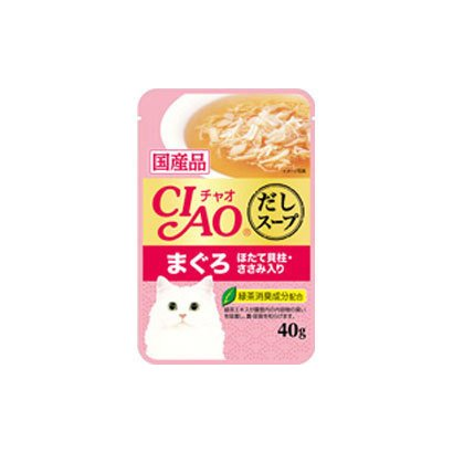 CIAO だしスープ [猫用 レトルトパウチ まぐろ ほたて貝柱 ささみ入り 40g]