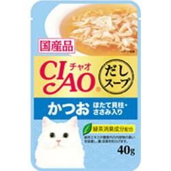 CIAO だしスープ [猫用 レトルトパウチ かつお ほたて貝柱 ささみ入り 40g]