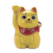 N76-02 [九谷焼 招き猫 黄ぬり 2.5号 (右手)]