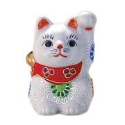 N76-03 [九谷焼 招き猫 白盛 2.5号 (左手)]