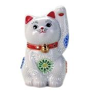 N76-05 [九谷焼 招き猫 白盛 3号 (左手)]