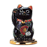 N76-11 [九谷焼 小判乗り招き猫 黒盛 (右手)]