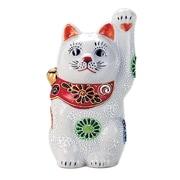 N76-15 [九谷焼 招き猫 白盛 4号 (左手)]