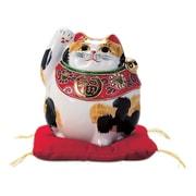 N76-19 [九谷焼 招き猫 毛長三毛 4号丸形 (右手)]