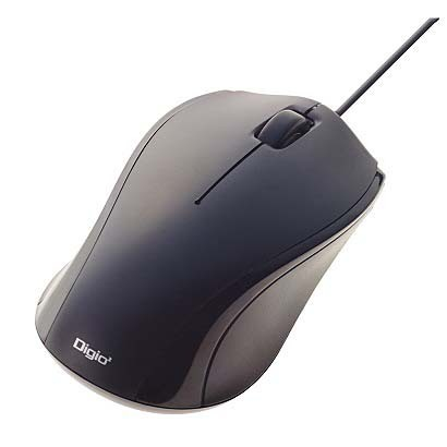 MUS-UKT102BK [有線静音3ボタンBLUE LEDマウス ブラック]