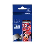 TZe-MR35 [ラベルライターピータッチ用 ラミネート ミニーマウス柄 レッドテープ 白文字 幅12mm]