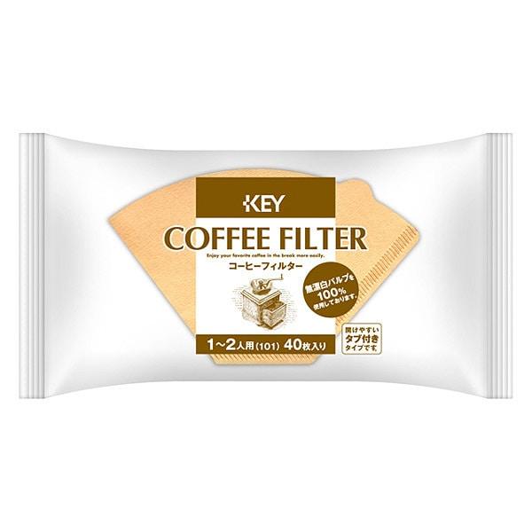 コーヒーフィルター 1-2人用 無漂白 タブ付き 40P