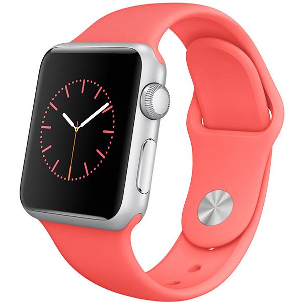 Apple Watch Sport 38mmシルバーアルミニウムケースとピンクスポーツバンド
