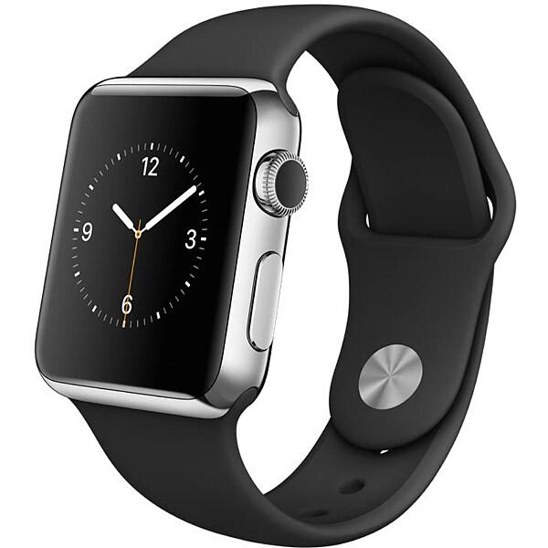 Apple Watch 38mmステンレススチールケースとブラックスポーツバンド