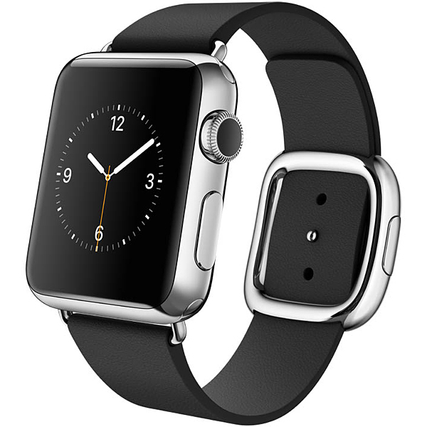 Apple Watch 38mmステンレススチールケースとブラックモダンバックル L