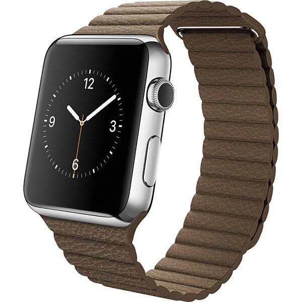 Apple Watch 42mmステンレスケースとライトブラウンレザーループ L