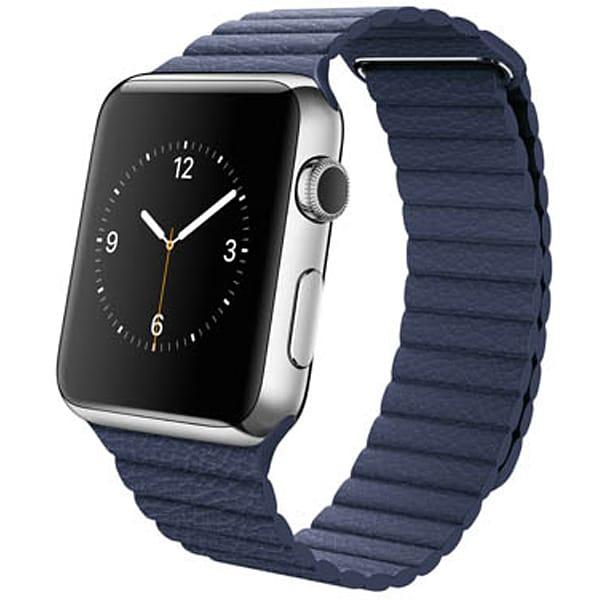 Apple Watch 42mmステンレスケースとブライトブルーレザーループ L