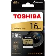 SDXU-B016G [SDHCカード 16GB EXCERIA PRO 読み出し260MB/s、書き込み240MB/s UHS-II対応 UHS Speed Class 3]