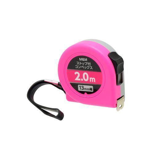 M&M ストップ付 コンベックス 13mm幅×2.0m ピンク
