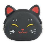 mimi POCHI JAPAN 招き猫 黒 [シリコン製 がまぐち]