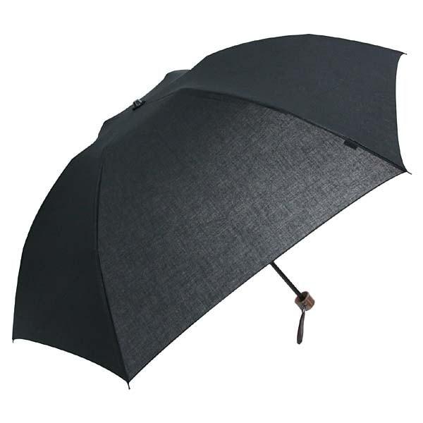 NM-414901 55 6K 晴雨兼用傘 シャンブレー無地 横タモ ブラック [ミニ傘]