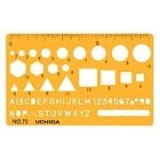 1-843-0075 [テンプレート カードサイズ定規 75 オレンジ]