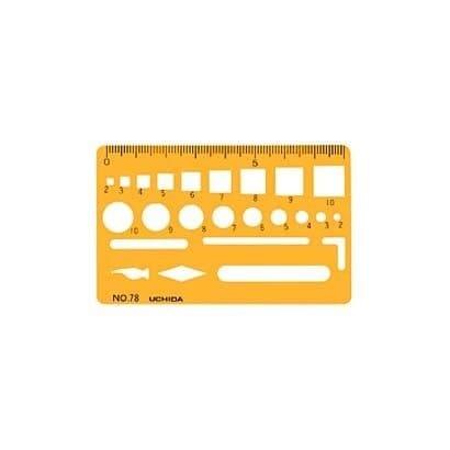 1-843-0078 [テンプレート カードサイズ定規 78 オレンジ]